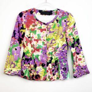 Elie Tahari Floral Watercolor Pleated Jacket 2